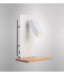 Aplique de pared LED con USB de madera y metal blanco - Nórdica II - Mantra