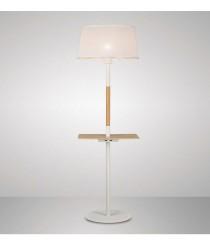 Pie de salón con USB y mesita de madera y pantalla blanca - Nórdica - Mantra