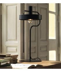 Lámpara de mesa estructura negro mate con difusor interior oro brillo – Aloa – Aromas