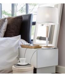 Lámpara de mesa con USB de madera y metal blanco - Nórdica II - Mantra