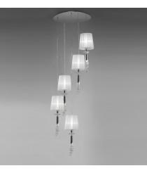 Lámpara colgante de metal en 2 acabados formato circular 5 luces - Tiffany - Mantra