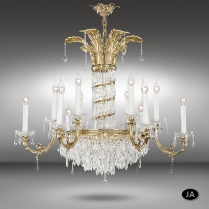 Lámpara colgante clásica de bronce en 3 acabados de 12 y 18 luces con cristales Asfour o Swarovski - Samara - Riperlamp