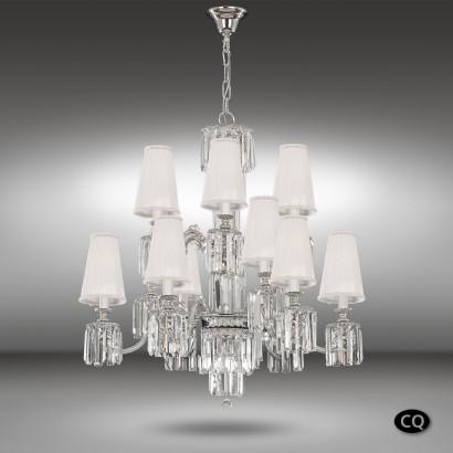 Lámpara de suspensión de 15 luces con cristal Asfour y pantallas de tela blanca - Sevilla - Riperlamp