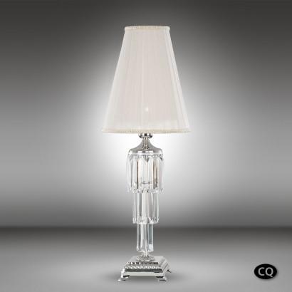 Lámpara de mesa de bronce y cristal Asfour con pantallas de tela blanca 1 luz - Sevilla - Riperlamp