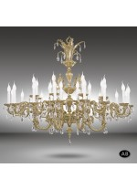 Classic pendant lamp with 32 lights and 2 finishes, Asfour or Swarovski crystal - Royal - Riperlamp