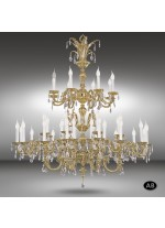 Classic pendant lamp with 40 lights and Asfour or Swarovski crystal - Royal - Riperlamp