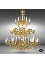 Classic pendant lamp with 120 or 135 lights and Asfour or Swarovski crystal - Royal - Riperlamp