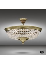 Brass ceiling lamp with Asfour o Swarovski crystals 6 lights - Plafones 055H - Riperlamp