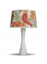 Modern table lamp with a cotton shade in flowery design – Estampados – IDP Lampshades