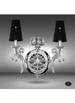 Classic bronze wall light in 3 finishes with Asfour or Swarovski crystal beads and 2 lights - Arianna - Riperlamp