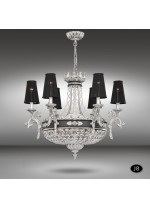 Classic empire style pendant lamp in 3 finishes with 12 lights and Asfour or Swarovski crystal - Arianna - Riperlamp