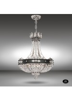 Pendant lamp with 6 lights and Asfour or Swarovski crystal - Arianna - Riperlamp