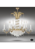 Classic bronze pendant lamp in 3 finishes with 12 or 18 lights and Asfour or Swarovski crystal - Samara - Riperlamp