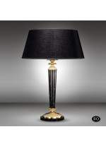 Classic table lamp with bronze column, marble base and black shade - Sobremesas - Riperlamp