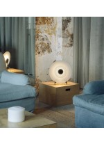 LED steel table lamp with glass diffuser screen - Halos – Milan