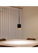 Ash wood and lacquered steel hanging lamp – Third – Milan