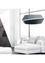 Pendant lamp in 2 sizes with a grey chins textile shade with 2 pieces – Anita – IDP Lampshades