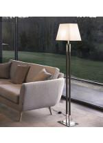 Lámpara de pie de latón y piel con pantalla en 2 colores - Ema - Bover