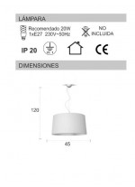 Wool ceiling lamp with 3 colours 45 cm – Lana – IDP Lampshades