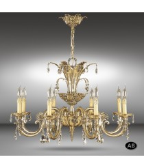 Classic pendant light with 6, 8, 12, 16 light with Asfour or Swarovski crystals - Royal - Riperlamp