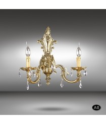 Classic wall lamp with 2 or 3 lights and Asfour or Swarovski crystals - Royal - Riperlamp