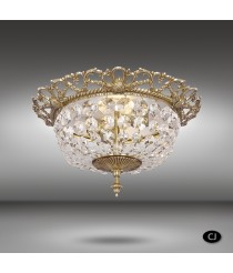 Brass ceiling lamp with 2 lights and Asfour or Swarovski crystals - Plafones 050J - Riperlamp