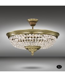 Brass ceiling lamp with Asfour o Swarovski crystals 4 lights - Plafones 055K - Riperlamp