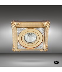 Brass ceiling recessed light with Swarovski crystal and 3 finishes - Adriana - Riperlamp