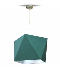 Geometric pendant light with green laminated chins material – Origami – IDP Lampshades