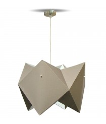 Suspension lamp with a taupe PVC film shade – Origami – IDP Lampshades