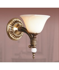 French gold classic wall lamp with white alabaster shade - Prestige - Riperlamp