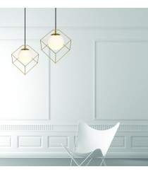 Wire pendant lamp with cubes