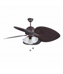 Ceiling fan without light brown finish suitable for sloping ceiling - Cuba - Faro