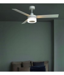 White LED ceiling fan with 3 adjustable speeds - Ice - Faro