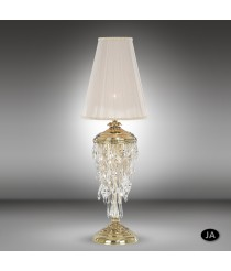 Bronze table lamp in 2 finishes with black or beige shade and Asfour or Swarovski crystals - Samara - Riperlamp