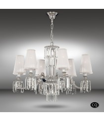 Bronze pendant lamp with 6 lights and white fabric shade - Sevilla - Riperlamp