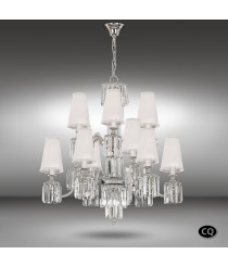 Pendant lamp with 15 lights, Asfour glass and white fabric shade - Sevilla - Riperlamp