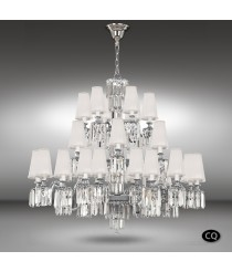Brass and glass pendant lamp with white fabric shades 30 lights - Sevilla - Riperlamp