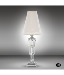 Brass table lamp with Asfour glass and white fabric shades, 1 light - Sevilla - Riperlamp