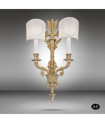 Brass wall lamp in 3 finishes with fabric shade - 592P - Riperlamp