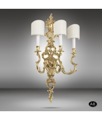 Brass wall lamp with fabric shade - 592Q - Riperlamp