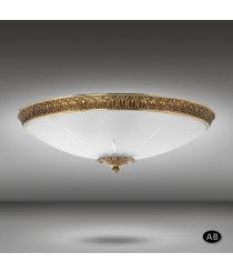Wall lamp with brass ring and transparent carving glass Ø 43 cm 3 lights - Plafones 616K - Riperlamp