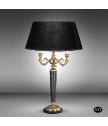 Classic bronze table lamp with 2 lights and marble base - Sobremesas - Riperlamp