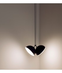 Black metal pendant lamp 2 lights - Nod – Milan