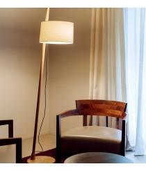 Oak wood floor lamp and 100% linen height adjustable screen - Linood - Milan