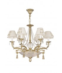 Bronze classic pendant lamp with Asfour crystals and 3+3 or 6+3 lights - Duna - Riperlamp