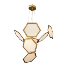 Lámpara colgante de latón con hexágonos y cristal – Ramie – MYO