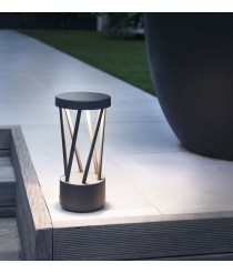 Dark grey LED beacon with lattice body available in two sizes - Twist - Faro