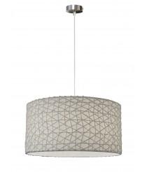 Lámpara colgante con pendel color níquel y pantalla blanca o gris – Malla de papel – IDP Lampshades