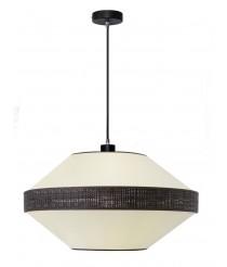 Lámpara colgante con cable textil y pantalla cotón y bana en dos acabados – Mia – IDP Lampshades
